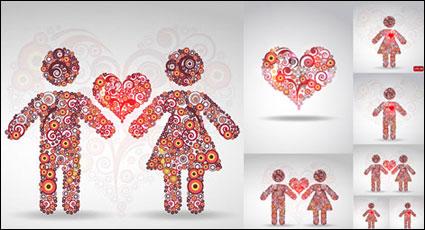 원형 패턴 사랑 벡터 자료의 구성
