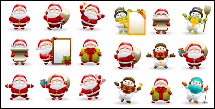 Cute Santa Claus and Snowman Vector