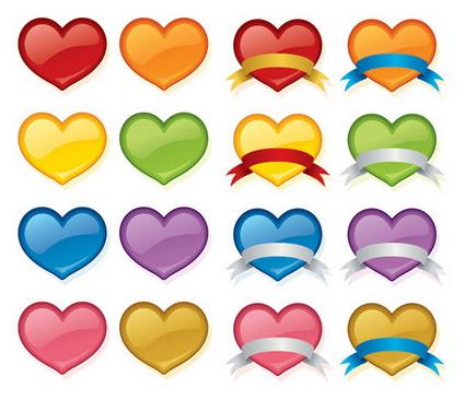 Color durazno cristal corazón icono material de vectores