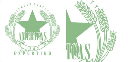 Vector de insignias de trigo verde