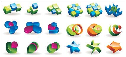 Gráficos tridimensionales icono material de vectores