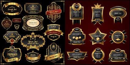 Gaya Eropa emas label vektor
