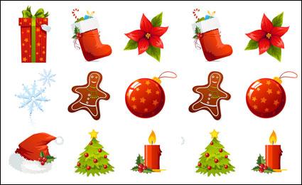 Un ensemble de bel vecteur d'icône Noël