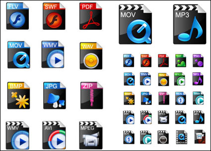 Icônes populaires - vecteur de formats de vidéo exquis