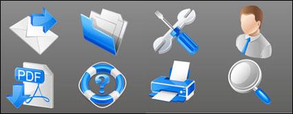 Icônes bleu entreprise pratique - matériel de vecteur