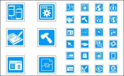 Bleus icônes exquis de technologie vecteur - matériel de vecteur