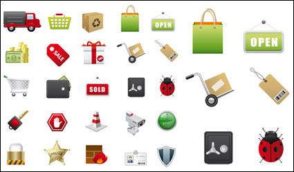 Icônes de supermarchés vecteur