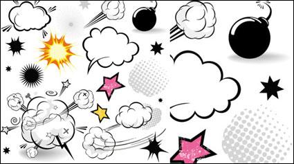漫画のスタイルのキノコ雲のレイヤー 01 - ベクトル