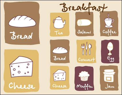 Lovely breakfast icon - vector material