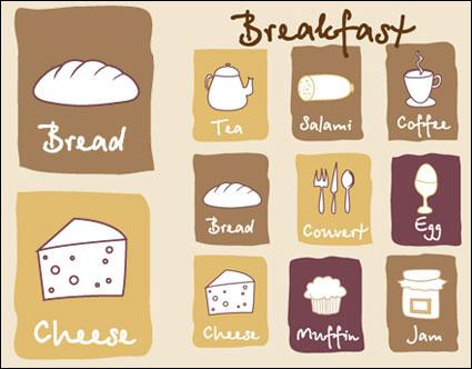 Прекрасный завтрак икона - векторный материал