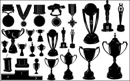 Medallas y trofeos silueta Vector