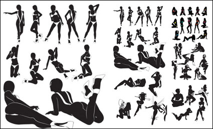 Sexy หญิง silhouettes vector วัสดุ