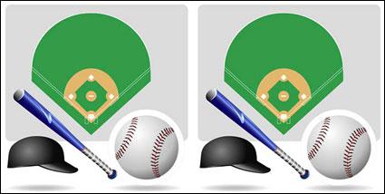 อุปกรณ์กีฬาเบสบอลของเวกเตอร์