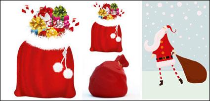 산타 클로스와 선물을 가방-벡터