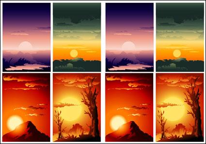 Vector ทัศนียภาพอันพระอาทิตย์ตกที่สวยงาม