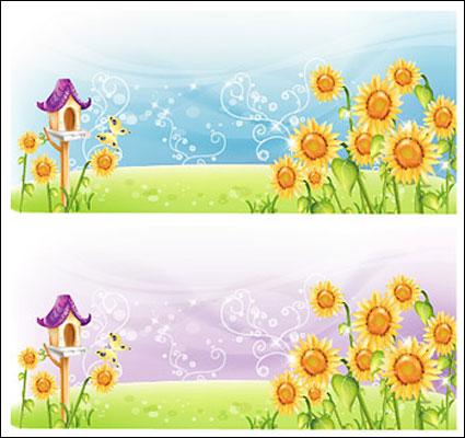 Sunflower ภูมิประเทศเวกเตอร์