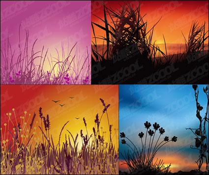 ベクトルの日没の風景