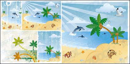 Paisajes de playa de dibujos animados de vector