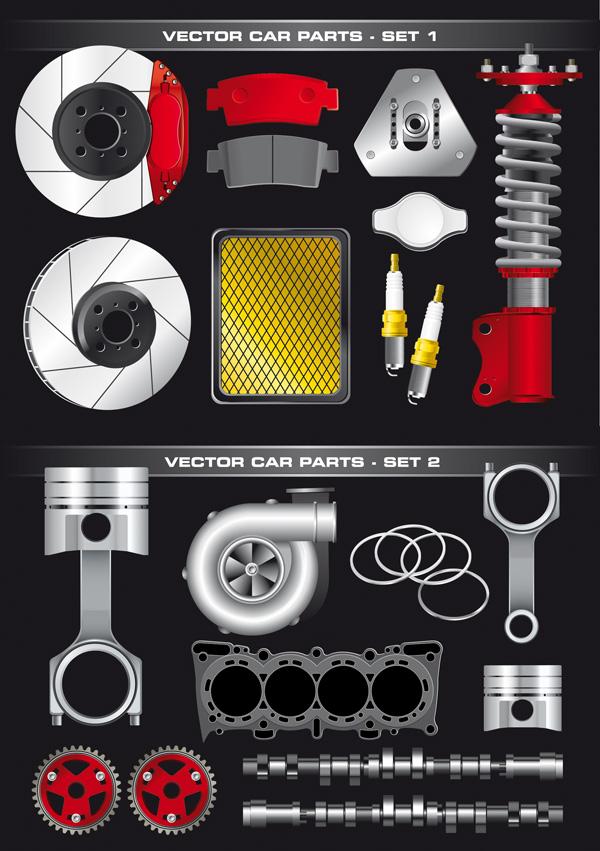 自動車部品のベクター素材