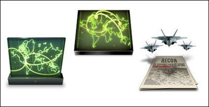 Cartes, mac, satellites, porte-avions, avions de combat, réservoirs