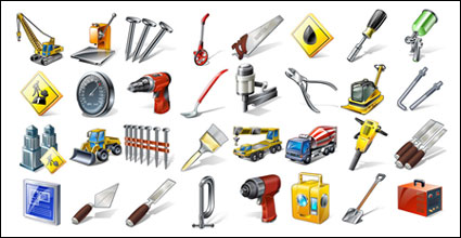 Teknik peralatan, alat-alat, orang dan barang ikon