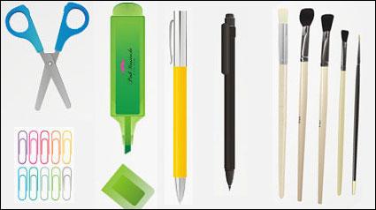 Crayon, plume, crayon, taille-crayon, ciseaux, stylo, caoutchouc