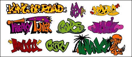 Polices art graffiti-style, matériel de vecteur de paragraphe 145