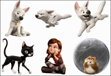 animais de cartoon, cão, gato ico