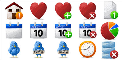 Artistica, Twitter, Haus, Runde Kuchen, Datenbanken, Statistik, Uhr, Zeit