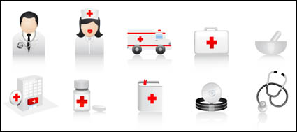 รถพยาบาล ยาคอนเทนเนอร์ syringes ขวดนม แผล วาง เครื่องฟังเสียง