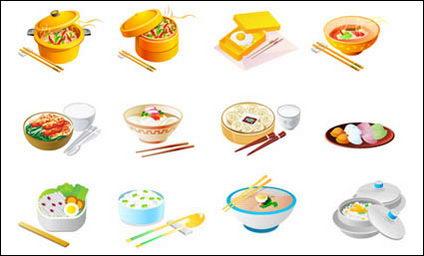 Cuisine chinoise vecteur icônes