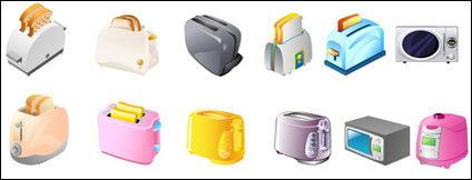 Tostadora, microondas, vector de cocinas eléctricas