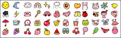 Clima, frutas, animales, iconos pequeños gif