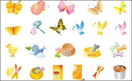 Mariposas, comida para mascotas, pollo Vector