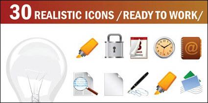 Las bombillas, marca pluma, bloqueo, horn, brújula, micrófono, vector de temporizador