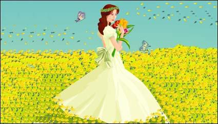 La mariée, matériel de vecteur de papillon