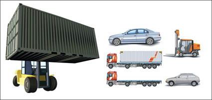 Voitures, camions de conteneur, levée des camions, des grosses voitures, vecteur de chariot élévateur