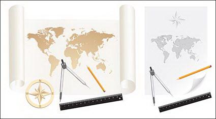 Cartes, vecteur de matériel, de papier, de rouleaux de papier, de la carte du monde