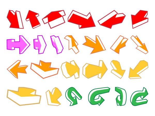 Una variedad de flechas y un material de vectores