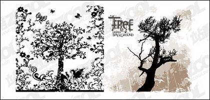 Patrons et les silhouettes des arbres vecteur matériel