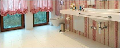 Le matériel de photo de mode style rose de salle de bain