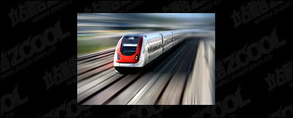 Kereta berkecepatan tinggi yang bepergian pada bahan gambar