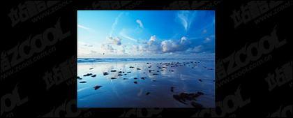 海で夕暮れの写真素材-2