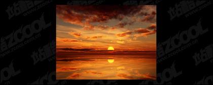 วัสดุรูปภาพพระอาทิตย์ตกที่สวยงาม