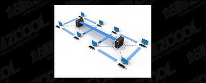 การเชื่อมต่อเครือข่ายคอมพิวเตอร์ 3 มิติรูปภาพวัสดุ -3