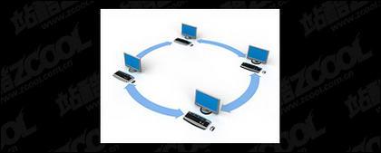 شبكة الكمبيوتر ثلاثية الأبعاد التي تربط بين الصورة المادية-5