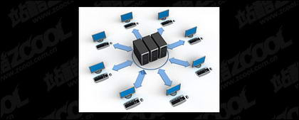 شبكة الكمبيوتر ثلاثية الأبعاد التي تربط بين الصورة المادية-8