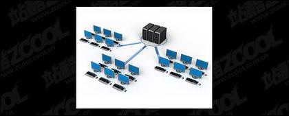 写真素材-9 を接続する 3 D コンピュータ ネットワーク