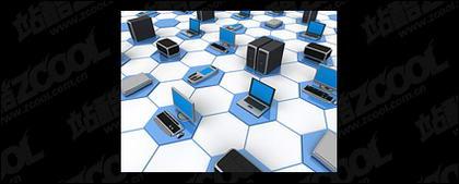 3D-Computer-Netzwerk verbinden Bild Material-12