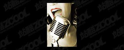 Grabación de la cantante material de imagen de portada de sonido